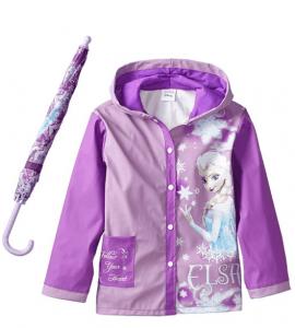 frozen rain coat and umbrella